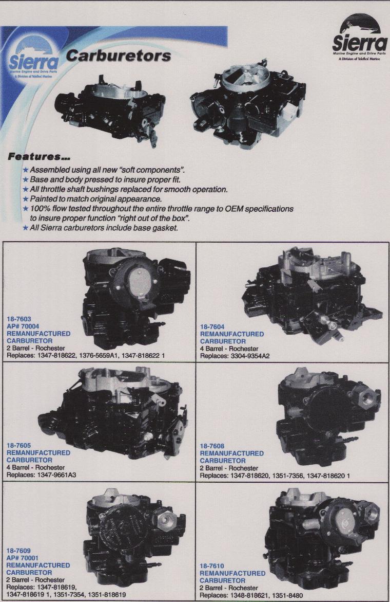 Rebuilt mercruiser carburetors